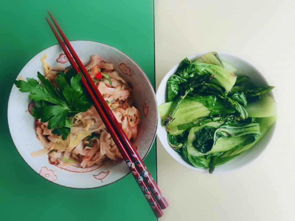 Reisnudeln Pak Choi vegan Rezept Asiaküche