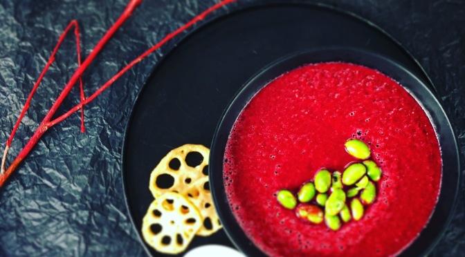 Vegane Rote-Bete Suppe mit Birne