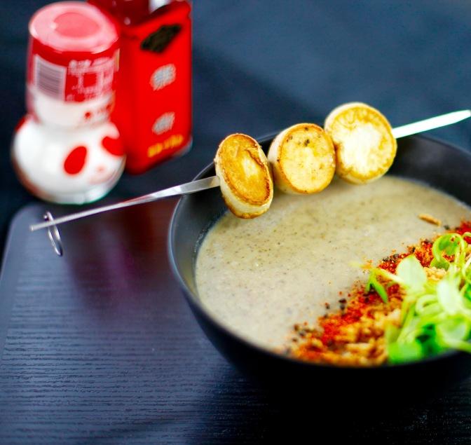 Einfach lecker: Vegane Jakobsmuschel! Und vegane Pilzsuppe!