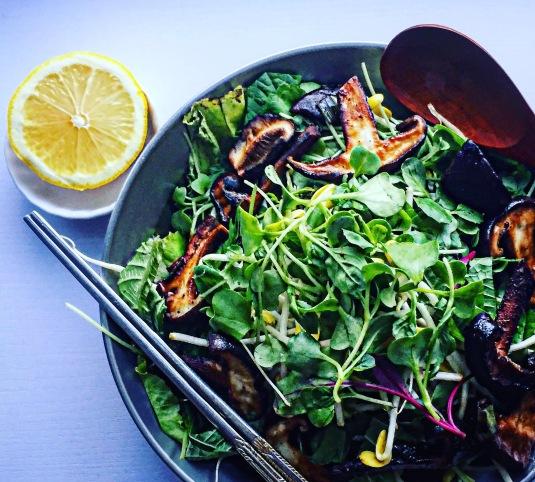 Sprossen-Salat mit Shiitake in Soja-Sauce gegart